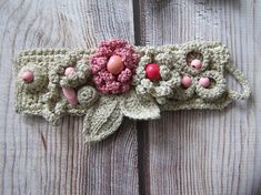 Knitted bracelet made of linen and hemp. Pergola decorated with beads, crocheted flowers and beads. natural materials. Handmade. Product in a single copy. Knitting the creative process, so new job may not be an exact copy. The kit can buy a necklace: https://www.etsy.com/listing/535398822/boho-line-hempcotton-crochet-necklace?ref=shop_home_active_1