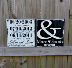 Personalized Wedding Gift, Engagement Gift, Anniversary Gift, Important Date Custom Wood Sign - Double on Etsy, $50.00