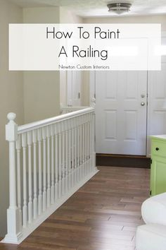 Learn how to paint stair railings with this step-by-step tutorial. Painting your railing is a budget-friendly way to give it an amazing update! Learn how to paint stair railings with this step-by-st Painted Stair Railings, Painted Stairs, Painted Staircases, Stair Banister, White Staircase, Spiral Staircases, Bannister, Staircase Design, Color Schemes Design