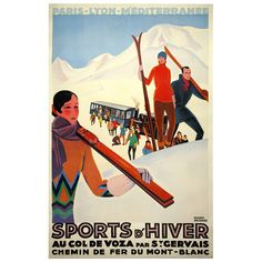 Art Deco Ski Poster   France   1929
