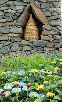 Bee skep displayed in a stone wall!!! Bebe'!!! Love this bee skep!!!