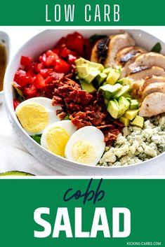 This Low Carb Cobb Salad with Grilled Chicken is the perfect lunch. You are going to love the contrast between crunchy romaine, crispy bacon, creamy blue cheese and avocado, and a delicious sweet heat dressing. #kickingcarbs #LowCarbCobbSalad #GrilledChickenSalad #KetoRecipes Easy Salads, Healthy Salad Recipes, Healthy Chicken Recipes, Lunch Recipes, Keto Recipes, Dinner Recipes, Vegetable Recipes, Gluten Free Recipes For Breakfast, Gluten Free Dinner