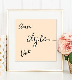 Digital print Classic Chic Style Home decor typography print Printable art Wall art Office decor Peach blush simple print instant download