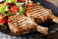 """Whole 30 garlic butter pork chops in the Air Fryer! Check out this delicious recipe that can be made in an Air Fryer. """"Succulent pork chops with a garlic butter marinade. Pork Sirloin Roast, Grilled Pork Chops, Baked Pork Chops, Pork Loin, Pork Chop Recipes, Grilling Recipes, Cooking Recipes, Pork Meals, Whole30 Recipes"""