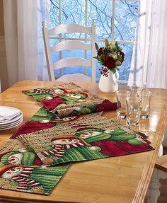 Snowman Tapestry Table Top Decor Place Mats Runner Centerpiece Valance Christmas