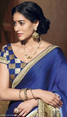 so beautiful, Indian, Indian #Saree #Fashion in Blue, Beige~Gold, via @topupyourtrip Shopping