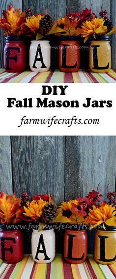 Fall Mason Jars - The Farmwife Crafts