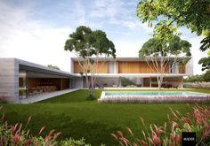Modern Villa Design, Contemporary Design, Woodland House, Dream Mansion, American Houses, Dream House Exterior, Facade Architecture, Tropical Houses, Cool House Designs
