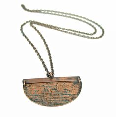 large etched copper pendant necklace - Esma Studios Jewelry