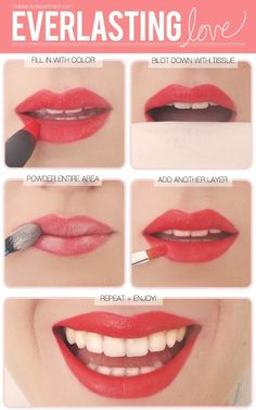 Picture-tutorial on making lipstick last longer. Tried it tonight, it really does help!