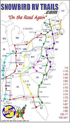 Snowbird RV route maps North and South