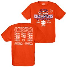 4a92a30f370 Clemson Tigers 2018-2019 Football National Champions YOUTH Short Sleeve T- Shirt  Blue84