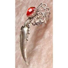 Silver Plated Claw Ring Gothic Goth Gothik Jewel Vampire Witch Finger... ($19) ❤ liked on Polyvore featuring jewelry, rings, stone rings, red stone rings, red ruby ring, cat jewelry and gothic jewelry