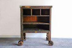 RARE industrial cart, authentic factory cart, furniture cart, double wheel casters, beautiful patina, industrial furniture, loft decor