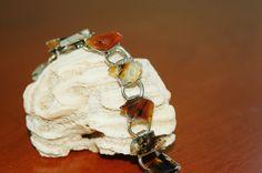 Stone Bracelet, Natural Polished Semi Precious Stone Bracelet, Amber Color Bracelet, Bohemian, Art Deco Jewelry - SOLD! :)