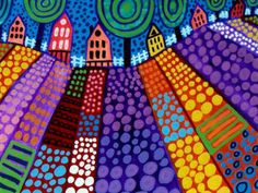 Landscape Folk Art Trees Houses Print Poster Painting Modern Abstract Wall