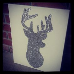 Glitter Deer Silhouette on Canvas by YDoodleDesigns on Etsy, $35.00