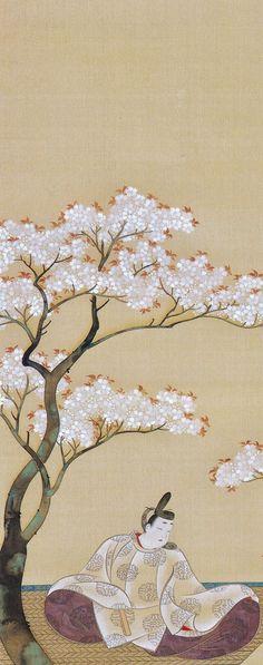 Detail. Noblemen under Cherry Trees. 桜町中納言図 一幅 千葉市美術館 鈴木其一 Suzuki Kiitsu. Japanese hanging scroll. Nineteenth century. Chiba City Museum.
