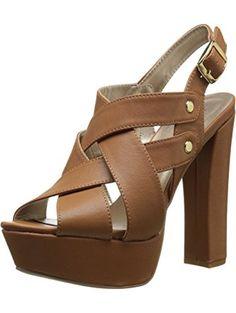 Qupid Women's Beat 02 Platform Sandal, Camel, 6 M US ❤ Qupid