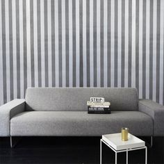 Striped Wallpaper – Grey & Light Grey from Metallic Wall Motifs - R399 (Save 0%) Love this wall paper!
