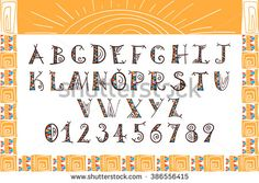 Tribal alphabet Ethnic font vector African or Aztec style letters Hand drawn…