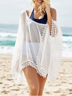See-Through Lace Edging Half Sleeve Cover-Up - WHITE ONE SIZE