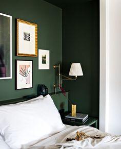 Bedroom Green, Green Rooms, Bedroom Color Schemes, Bedroom Colors, Home Bedroom Design, Bedroom Decor, Home Living Room, Apartment Living, Ideas Dormitorios