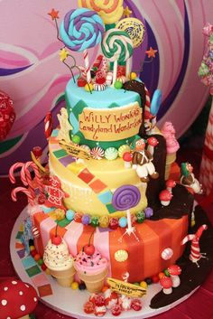 Wow!  What a cake at a Willy Wonka & Candyland Birthday Party!   See more party ideas at CatchMyParty.com!  #partyideas #candy