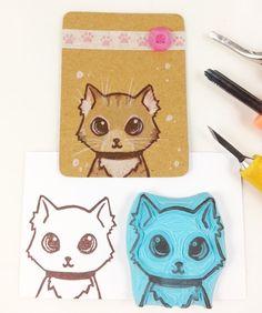 geschnitzter Stempel niedliche Katze Katzen Kopf Stempel Scrapbook handgemacht Stempel kleine Katze Katzen Gesicht Konturenstempel von Nesalis auf Etsy