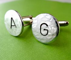Initial Cuff Links - Personalized Aluminum Cufflinks - Hammered Weathered…