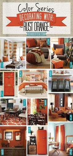 Color Series; Decorating with Rust Orange. Rust Orange burnt orange carrot tangerine pumpkin home decor | A Shade Of Teal
