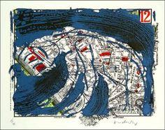 Lithographie - Pierre Alechinsky - Arrondissement de paris n° 12 Tachisme, Pig Drawing, Painting & Drawing, Plan Paris, Art Et Illustration, Inner Child, Mix Media, Gravure, Les Oeuvres