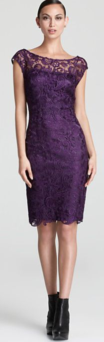 ML Monique Lhuillier Lace Dress - Sleeveless Boat Neck  #lace #dress #cocktail #dresses #purple