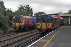 Class 450 Desiro emu and Class 455 at New Maldon station in Surrey. South West Trains, Electric Train, British Rail, Emu, Surrey, Locomotive, Diesel, Park, Live