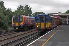 Class 450 Desiro emu and Class 455 at New Maldon station in Surrey. Electric Train, British Rail, Emu, Surrey, Locomotive, Diesel, The Unit, Park, Live