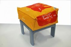 """BeenBag"" Stool by  Rachel Clara Ottaway.  Reuse Material: Plastic carrier bags"