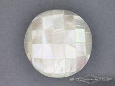 Parelmoer knoop 34mm mozaiek off white