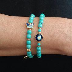 Turquoise Evil Eye Bracelet Butterfly Evil Eye by BijouStore