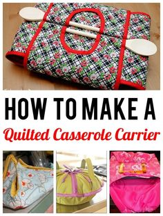 Sewing Gifts How to Make a Quilted Casserole Carrier - Keep your dishes hot even when there's a chill in the air. These fantastic casserole carrier patterns are a great project to sew for yourself or as gifts! Easy Sewing Projects, Sewing Projects For Beginners, Quilting Projects, Sewing Hacks, Sewing Tutorials, Sewing Crafts, Sewing Patterns, Sewing Tips, Sewing Ideas