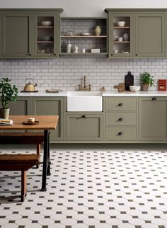 kitchen tile floor Victorian Floor Tiles neednt be confined to hallways and front paths, theyre also extremely practical for kitchens too! Pair with traditional cabinetry and a belfast-style sink for a period kitchen setting that exudes style. Kitchen Sets, Home Decor Kitchen, Rustic Kitchen, Home Kitchens, Diy Kitchen, Modern Kitchens, Beach Cottage Kitchens, Sage Kitchen, 10x10 Kitchen