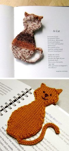Free Knitting Pattern for Cat Bookmark - Knit in one piece with the ears picked up and the tail in i-cord. Approximately / 18 cm long. Designed by Stana D. Pictured projects by seymor and Loom Knitting, Knitting Stitches, Knitting Patterns Free, Knit Patterns, Free Knitting, Baby Knitting, Knitting Toys, Yarn Projects, Knitting Projects