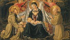 Benozzo Gozzoli - Madonna col Bambino, due angeli reggicortina, i santi Francesco e Bernardino e il donatore, - tempera su tavola - 1452 circa - Kunsthistorisches Museum, Wien.