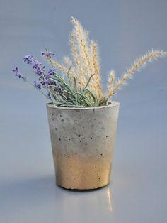 Gold Ombré Concrete Vase