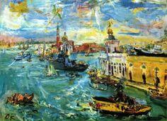 """Oscar Kokoschka.""""Venecia, botes en el Dogana"""", 1948"""