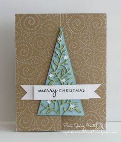 PamSparksElyseTreeFront,  Pam Sparks, Memory Box, Hero Arts, Christmas, Papertrey Ink, Z fold, Holiday online Card class 2013