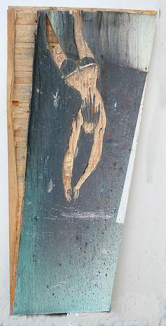 Kopfsprung, 2015, Mehrschichtplatte, 105x40x2 cm