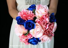 Pink and Blue Wedding Flowers