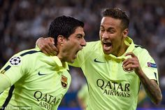 Suarez celebrates with Neymar as Barcelona took a giant step towards the Champions League semi-finals