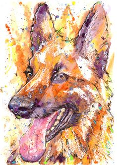 German Shepherd Pacture Alsatian Dog Painting by JaPeyArtnStuff Watercolor Paintings Of Animals, Animal Paintings, Animal Drawings, Watercolor Art, Original Paintings, German Shepherd Painting, Hound Puppies, Painting Techniques, Painting Lessons
