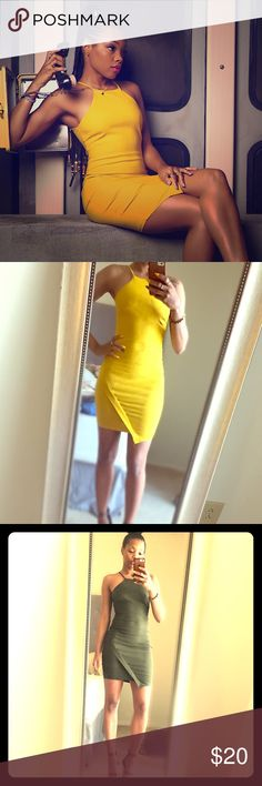 Yellow Asymmetrical Bodycon Dress Strapped dress...wore once for shoot as pictured!!! Like New! Golden or mustard color yellow... Dresses Asymmetrical
